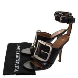 Givenchy Black Leather Runway Ankle Strap Sandals Size 37