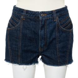 Givenchy Navy Blue Denim Raw Edge Detail Classic Shorts M