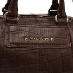 Givenchy Brown Croc Embossed Duffle Bag