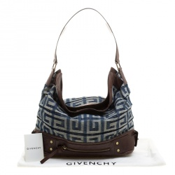 Givenchy Multicolor Denim and Leather Logo Print Hobo