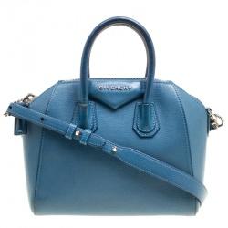 Givenchy Blue Leather Mini Antigona Top Handle Bag 55e6bab33e2f4
