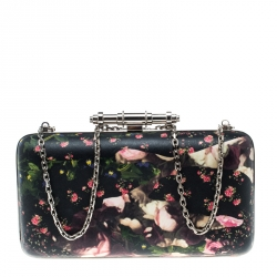 72ee1dc2be Givenchy Black Multicolor Floral Print Box Clutch