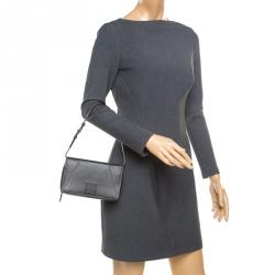 Givenchy Dark Grey Leather Logo Clutch Bag