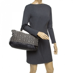 Givenchy Grey/Black Signature Canvas Top Handle Bag