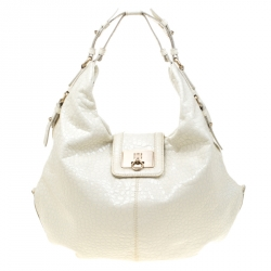 1fbd1c9ae3e Givenchy White Textured Patent Leather Hobo
