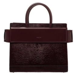 Givenchy Burgundy Calfhair and Leather Horizon Satchel