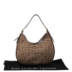Givenchy Beige/Brown Monogram Canvas and Leather Hobo