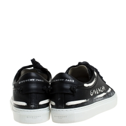 Givenchy Black/White Leather Grafitti Low Top Sneakers Size 39.5