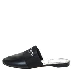 Givenchy Black Leather And Elastic Logo Flat Mules Size 38