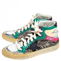 Golden Goose Multicolor Leather And Zebra Print Pony Hair High Top Sneakers Size 37