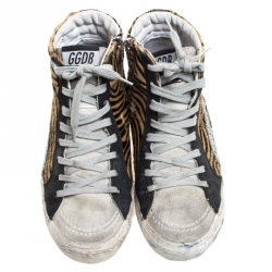 Golden Goose Multicolor Leather And Zebra Print Pony Hair High Top Sneakers Size 36