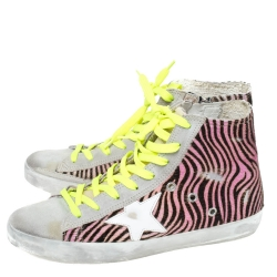Golden Goose Multicolor Zebra Print Pony Hair And Suede Francy Sneakers Size 38