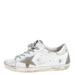 Golden Goose White/Silver Leather Hi Star Sneakers Size 38