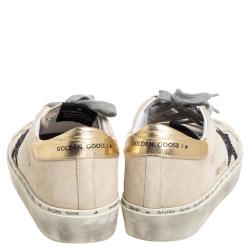 Golden Goose Cream Suede Glitter Star Low Top Sneakers Size 38