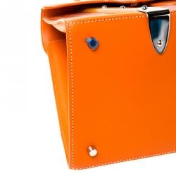 Goyard Orange Coated Canvas and Leather MM Saigon Top Handle Bag