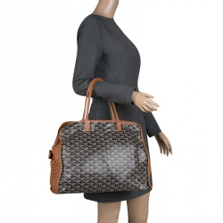 Goyard Brown/Cognac Coated Canvas Hardy Tote PM