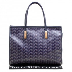 Goyard Blue Coated Canvas and Leather Marquises Tote