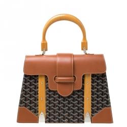 Goyard Brown/Cognac Coated Canvas and Leather Saigon Top Handle Bag
