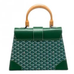 Goyard Green Coated Canvas and Leather MM Saigon Top Handle Bag