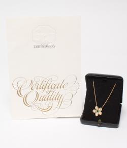 Graff 18K Yellow Gold Diamond Emerald Flower Motif Necklace