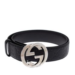 Gucci Black Guccissima Leather Interlocking G Belt 85CM