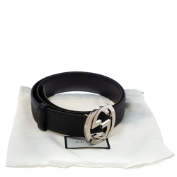 Gucci Black Guccissima Leather Interlocking G Buckle Belt 90CM