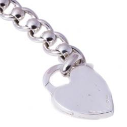 Gucci Silver Heart Lock Bracelet