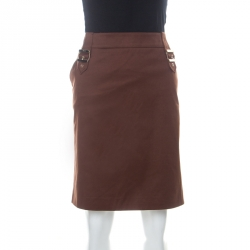 Gucci Brown Stretch Cotton Twill Gold Buckle Detail Pencil Skirt L