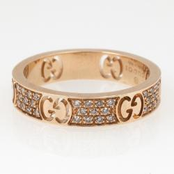 c100bd0a85851 Gucci Stardust Diamond Yellow Gold Thin Band Ring Size 52