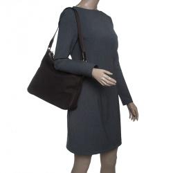 Gucci Dark Brown Canvas Shoulder Bag