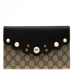 801b4a944b9b Gucci Beige/Black Pearl Studded GG Canvas and Leather Peony Clutch