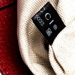 Gucci Beige/Red GG Supreme Bosco Patch Tote