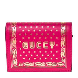 Gucci Pink/Gold Guccy Logo Leather Bifold Compact Wallet