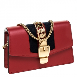 Gucci Red Leather Super Mini Sylvie Chain Shoulder Bag