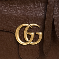 Gucci Brown Leather GG Marmont Top Handle Bag