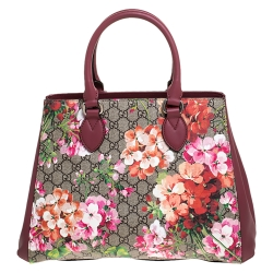 Gucci Pink/Beige GG Supreme Blooms Canvas and Leather Top Handle Bag