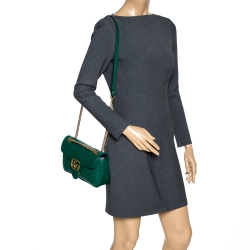 Gucci Green Matelasse Leather Small GG Marmont Shoulder Bag