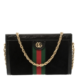 Gucci Black Suede and Patent Leather Ophidia Small Shoulder Bag