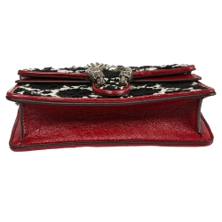 Gucci Black/Red GG Tweed and Leather Super Mini Dionysus Crossbody Bag