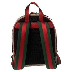 Gucci Beige/Red GG Supreme Canvas and Leather Bosco Backpack