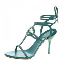 77e18c35cbc Gucci Green Leather Studded GG Ankle Wrap Sandals Size 39