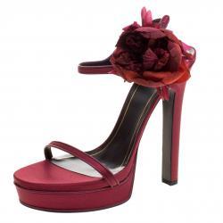 8f7068a4e Gucci Burgundy Satin Flower Embellished Ankle Strap Platform Sandals Size 40