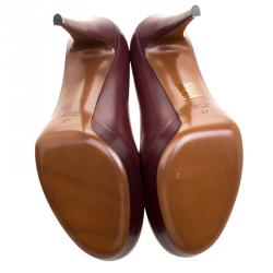 Gucci Maroon Leather Charlotte Platform Pumps Size 37