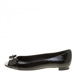 e5e54fc042f Gucci Black Patent Leather Marmont GG Buckle Peep Toe Ballet Flats Size 38