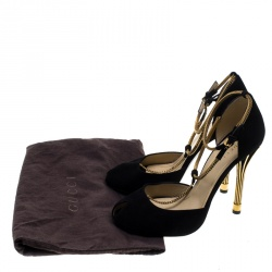 Gucci Black Suede Ophelie Chain Detail Ankle Strap Pumps Size 38.5