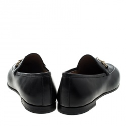 Gucci Black Leather Betis Glamour Horsebit Loafers Size 37.5