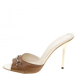 c2fd5cc92bc0 Gucci Brown Leather Pietra Horsebit Peep Toe Slides Size 41 · Gucci. Sandals