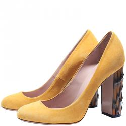 e74c45896f6 Buy Gucci Metallic Gold Leather Web Bow Detail Pumps Size 37.5 ...