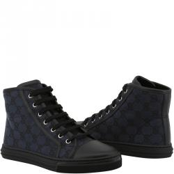 b8cd06c6ba011 Gucci Black Blue GG Canvas and Leather Lace Up High Top Sneakers Size 38