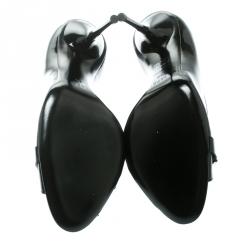 Gucci Black Patent Leather Horsebit Peep Toe Pumps Size 39